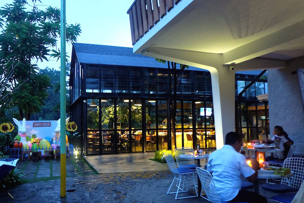 Eating at a Glasshouse at Miss Bee Providore, Bandung