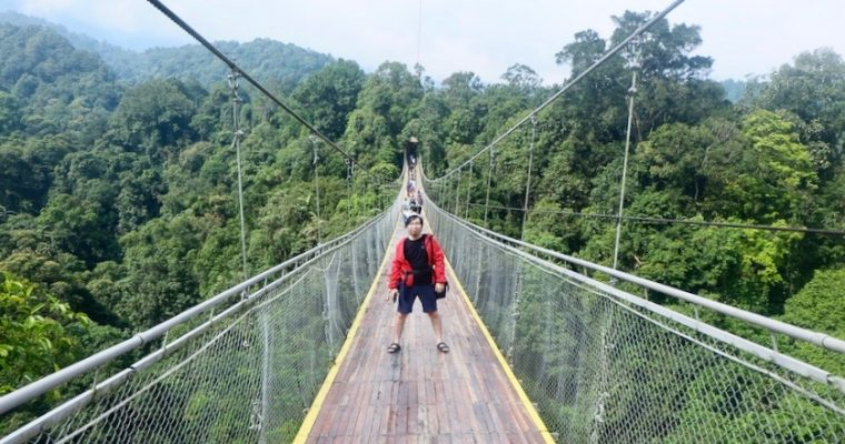 Hanging on Threads on Situ Gunung Suspension Bridge, Sukabumi
